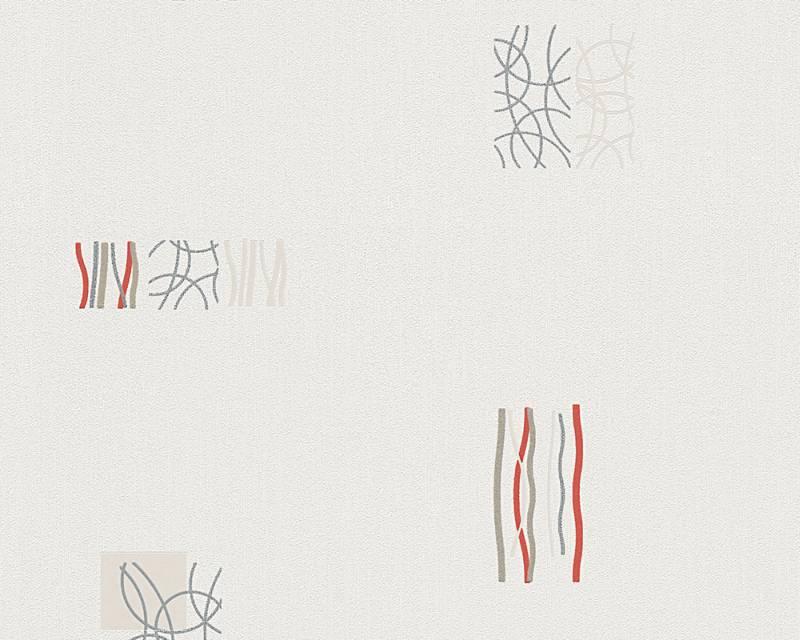 Tapeta A.S. Création Bahamas 94284-3 | 0,53 x 10,05 m (Vinylová tapeta na zeď - krémová, červená)