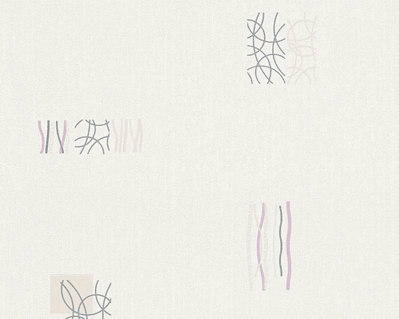 Tapeta A.S. Création Bahamas 94284-4 | 0,53 x 10,05 m (Vinylová tapeta na zeď - krémová, fialová)