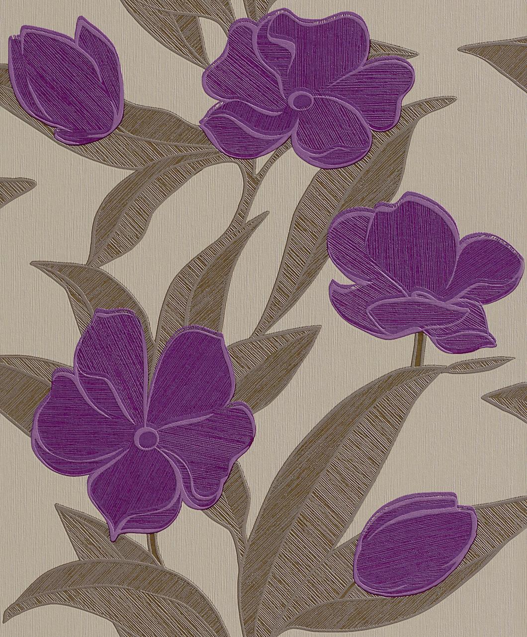Tapeta na zeď Rasch Plaisir 788129 | 0,53 x 10,05 m (Vliesová tapeta - fialové květy)