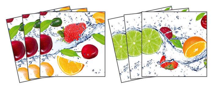Samolepicí dekorace Ovoce TI-003 (Dekorativní čtverce 15 x 15 cm)