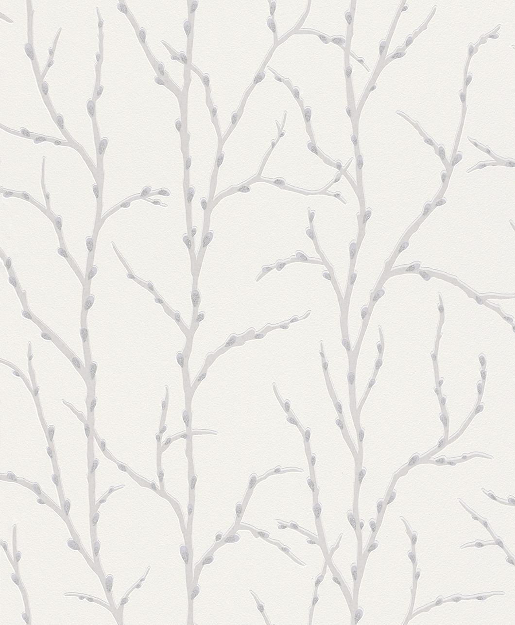 Tapeta na zeď Rasch Shiny Chic 309713 | 0,53 x 10,05 m (Vinylová tapeta - bílá, stříbrná)