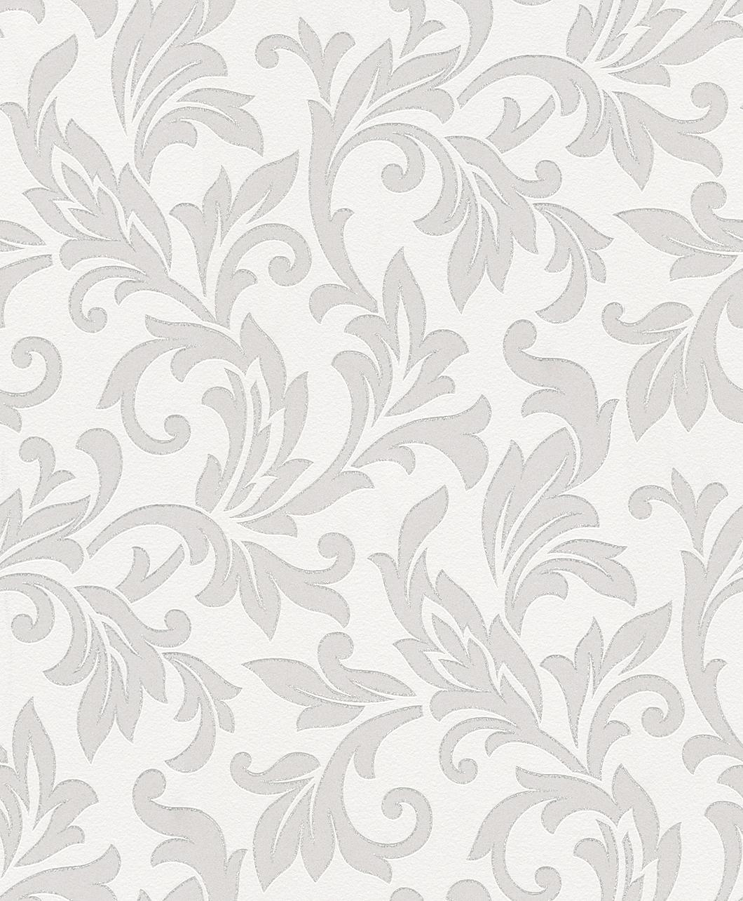Tapeta na zeď Rasch Shiny Chic 309805 | 0,53 x 10,05 m (Vinylová tapeta - bílá, stříbrná)