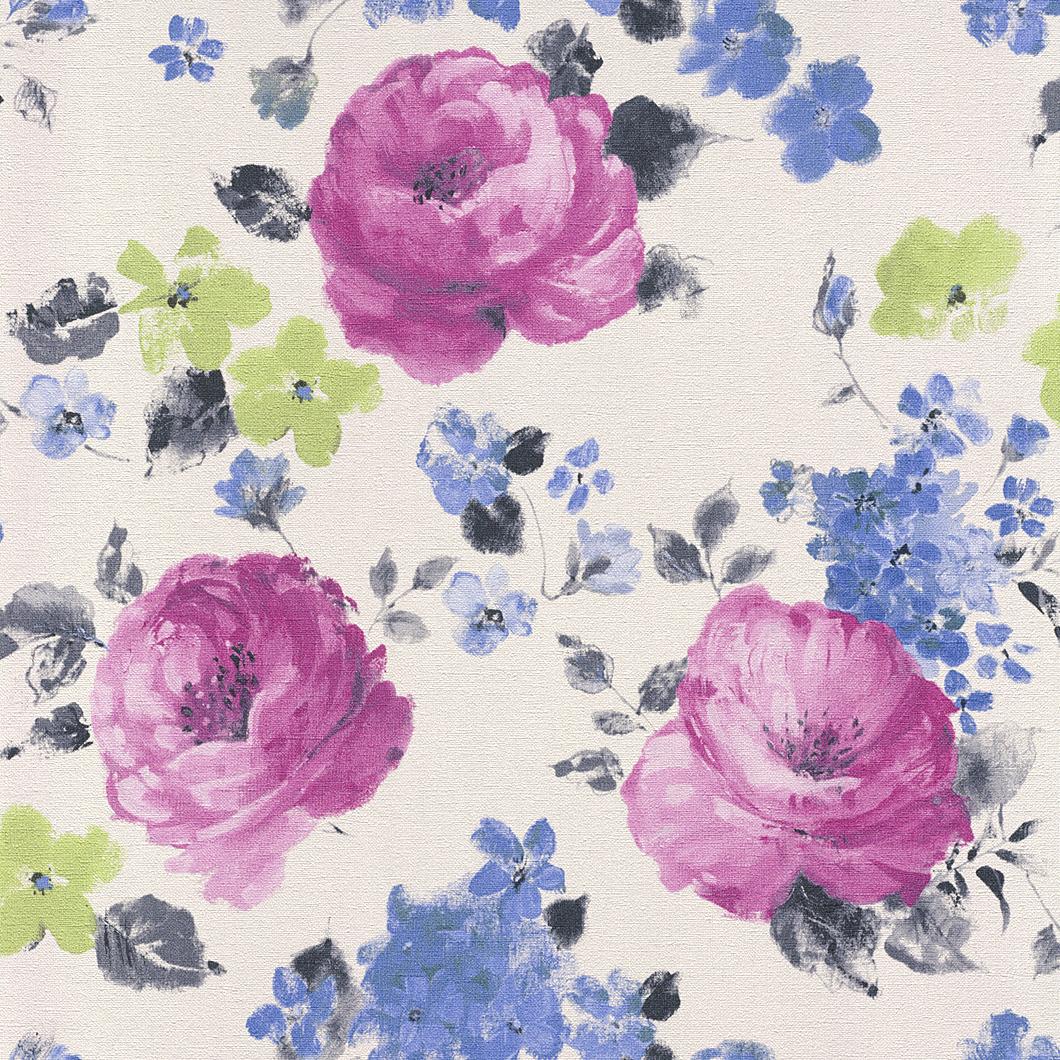 Tapety na zeď Rasch Florentine 448825 | 0,53x10,05m (Vliesová tapeta - modrá, zelená, růžová)