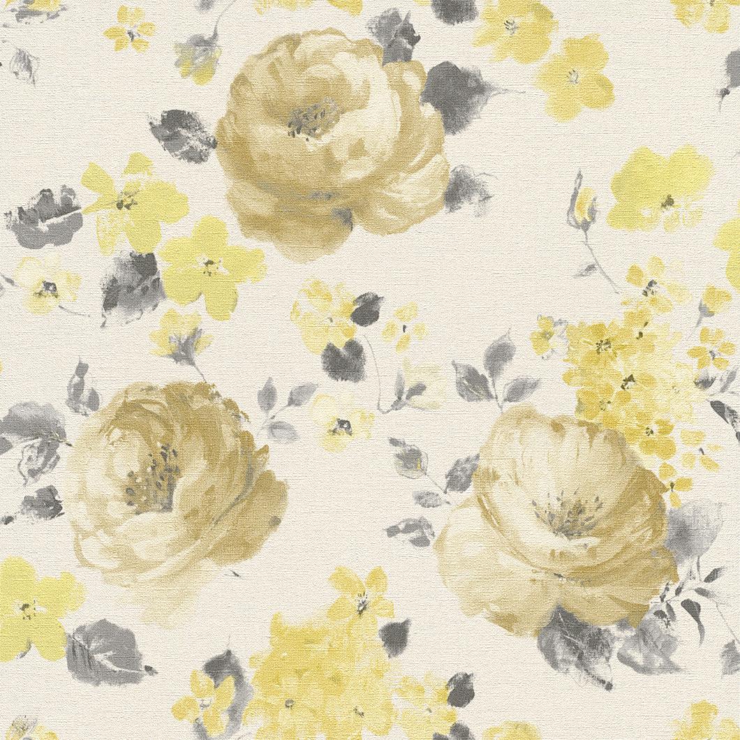 Tapety na zeď Rasch Florentine 448887 | 0,53x10,05m (Vliesová tapeta - žlutá, šedá, hnědá)