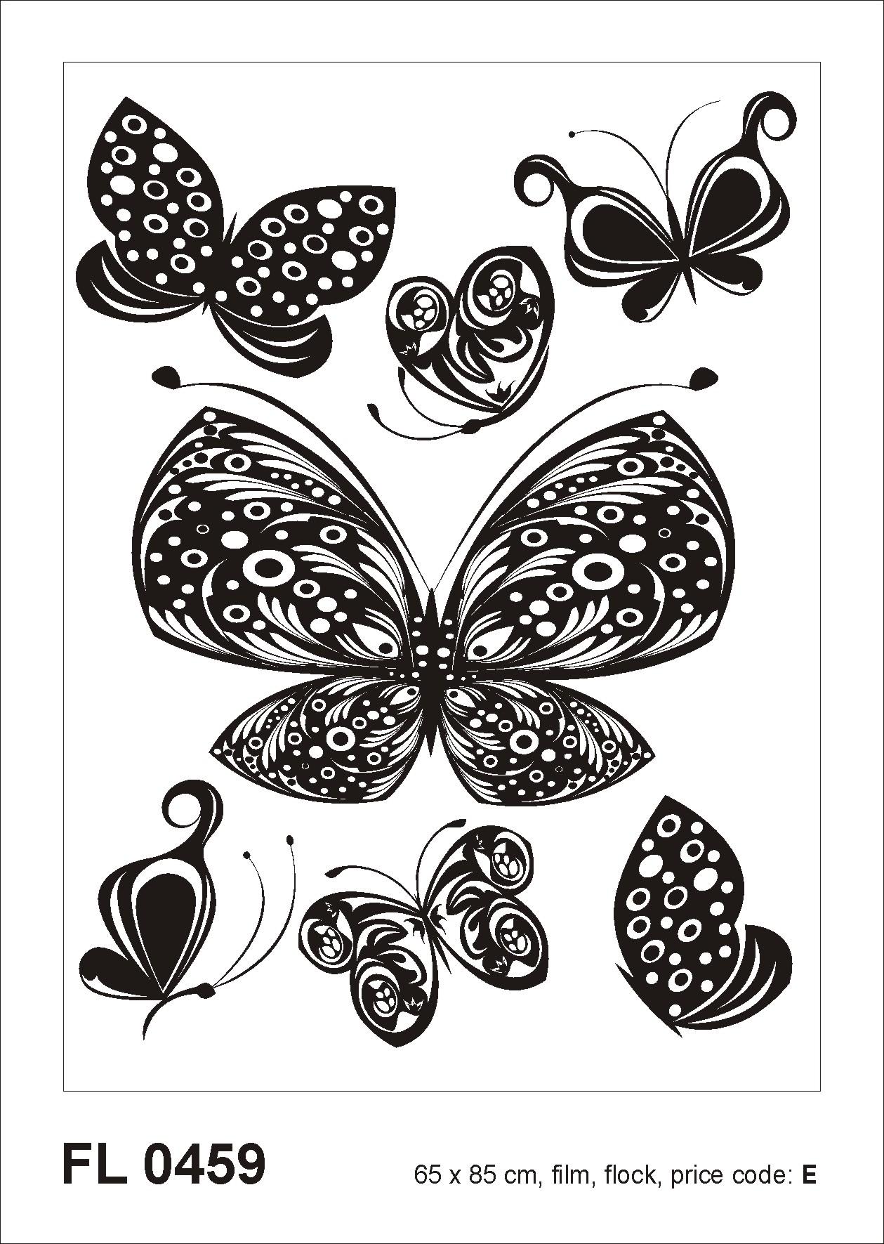 Samolepicí dekorace Motýli F0459 (Dekorativní nálepka 65 x 85 cm)