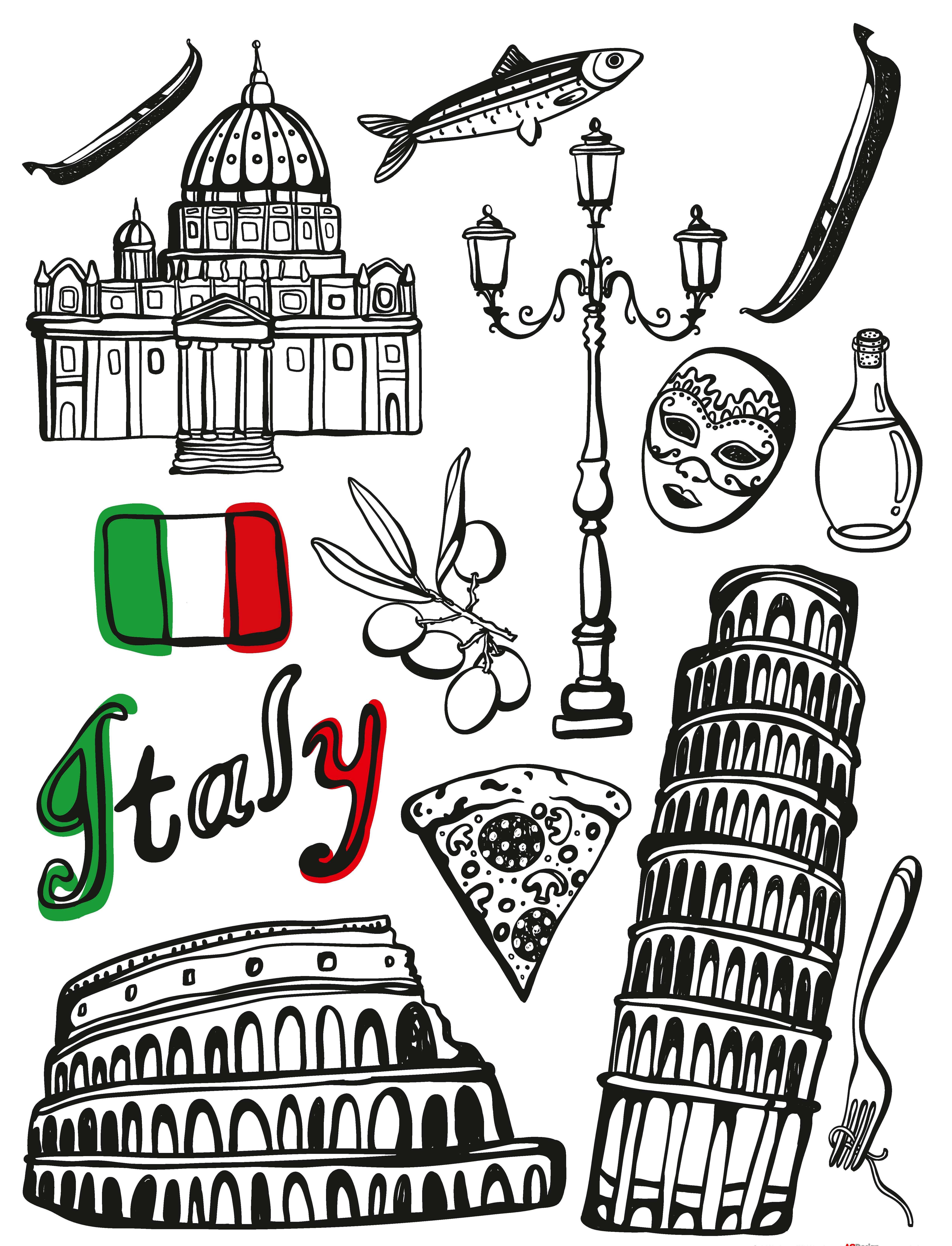 Samolepicí dekorace Italy F1040 (Dekorativní nálepka 65 x 85 cm)