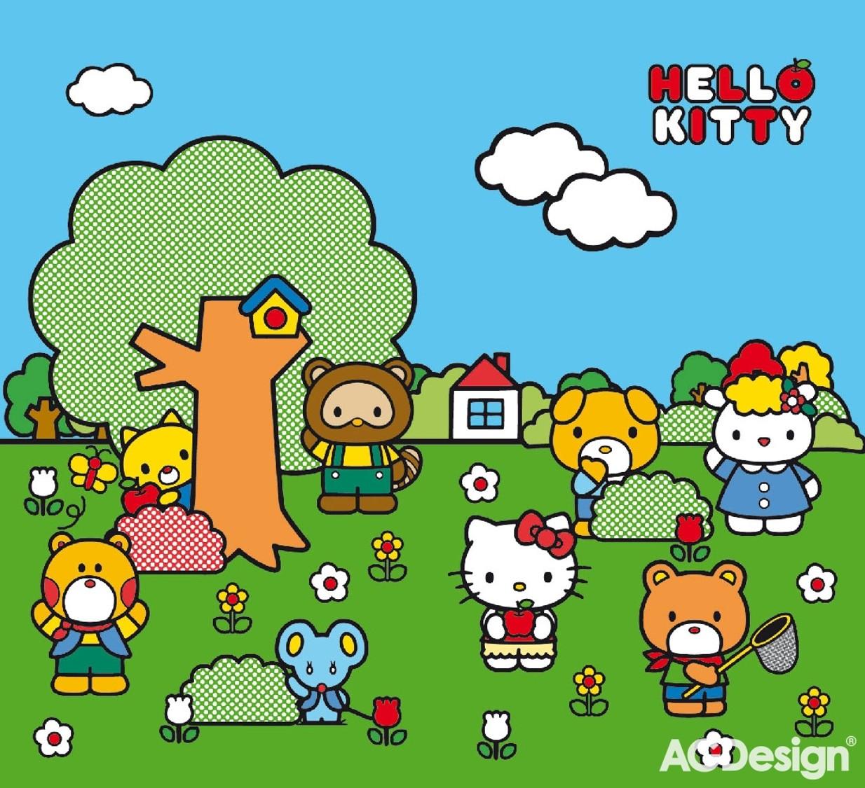 Fotozávěs AG Design Hello Kitty FCS XXL 7020 (Závěs PES 138g   280 x 245 cm)