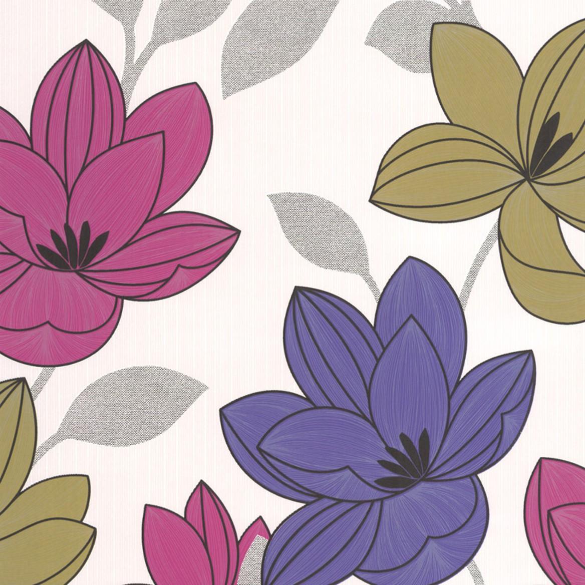 Tapeta na stěnu Vavex 20-560 | 0,53 x 10,05 m (Vinylová tapeta - růžová, fialová, zelená)