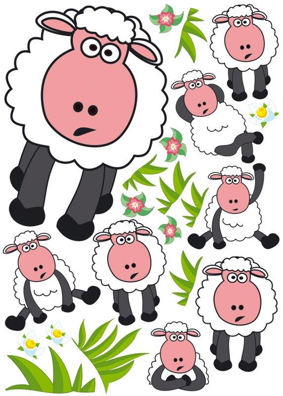 Dekorace na zeď Sheep ST1 003 (Samolepicí dekorace 50 x 70 cm)