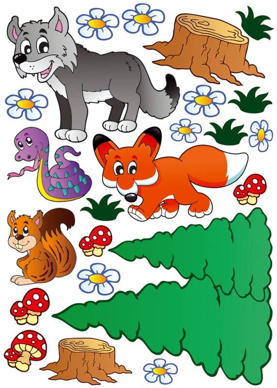 Dekorace na zeď Animals ST1 004 (Samolepicí dekorace 50 x 70 cm)