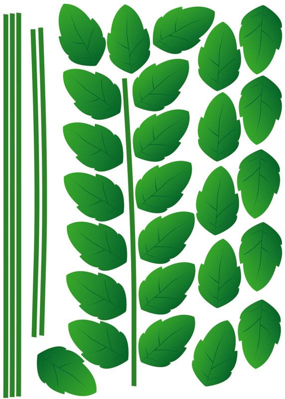 Dekorace na zeď Green Plant ST1 014 (Samolepicí dekorace 50 x 70 cm)