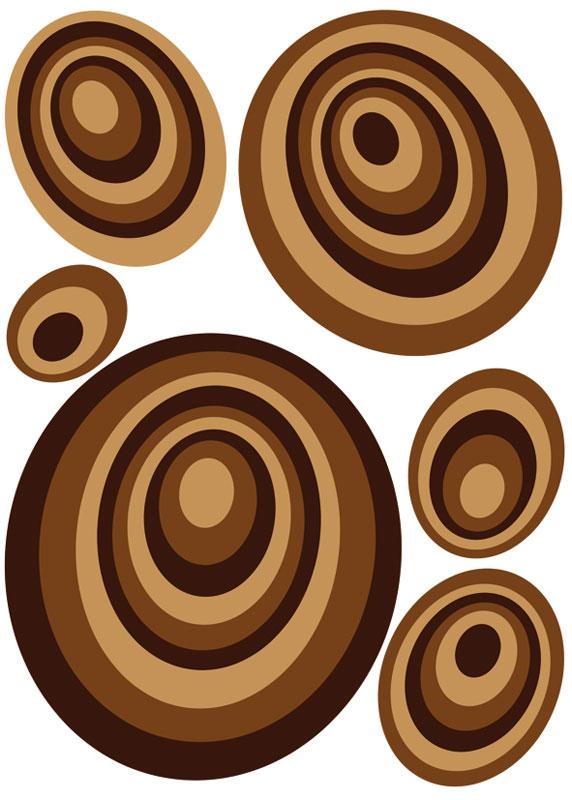Dekorace na zeď Brown Circles ST1 019 (Samolepicí dekorace 50 x 70 cm)