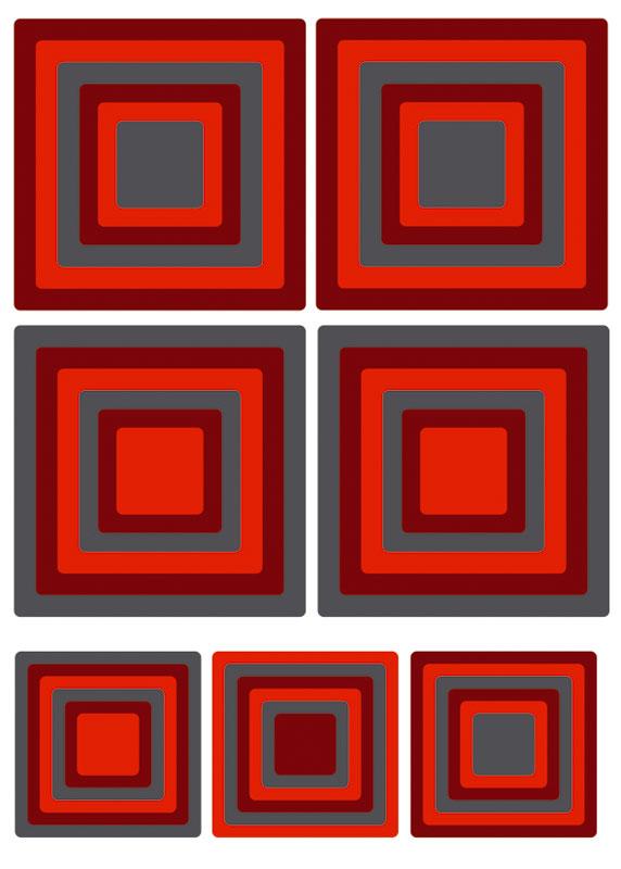 Dekorace na zeď Red Squares ST1 020 (Samolepicí dekorace 50 x 70 cm)