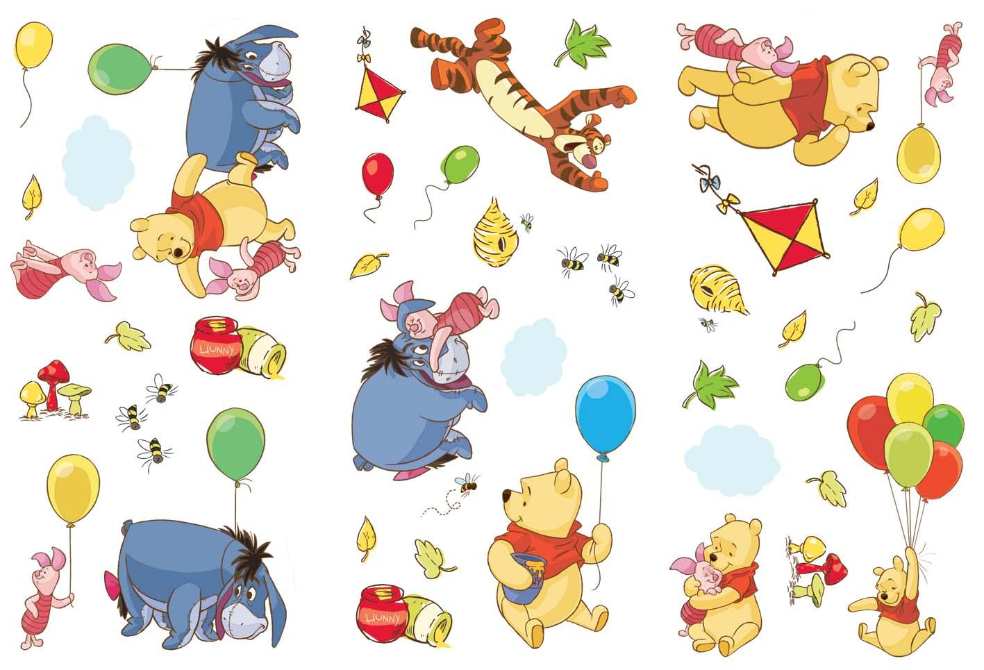 Mini stickers Medvídek Pú D70034 51x34 cm (Dekorativní samolepka pro děti)