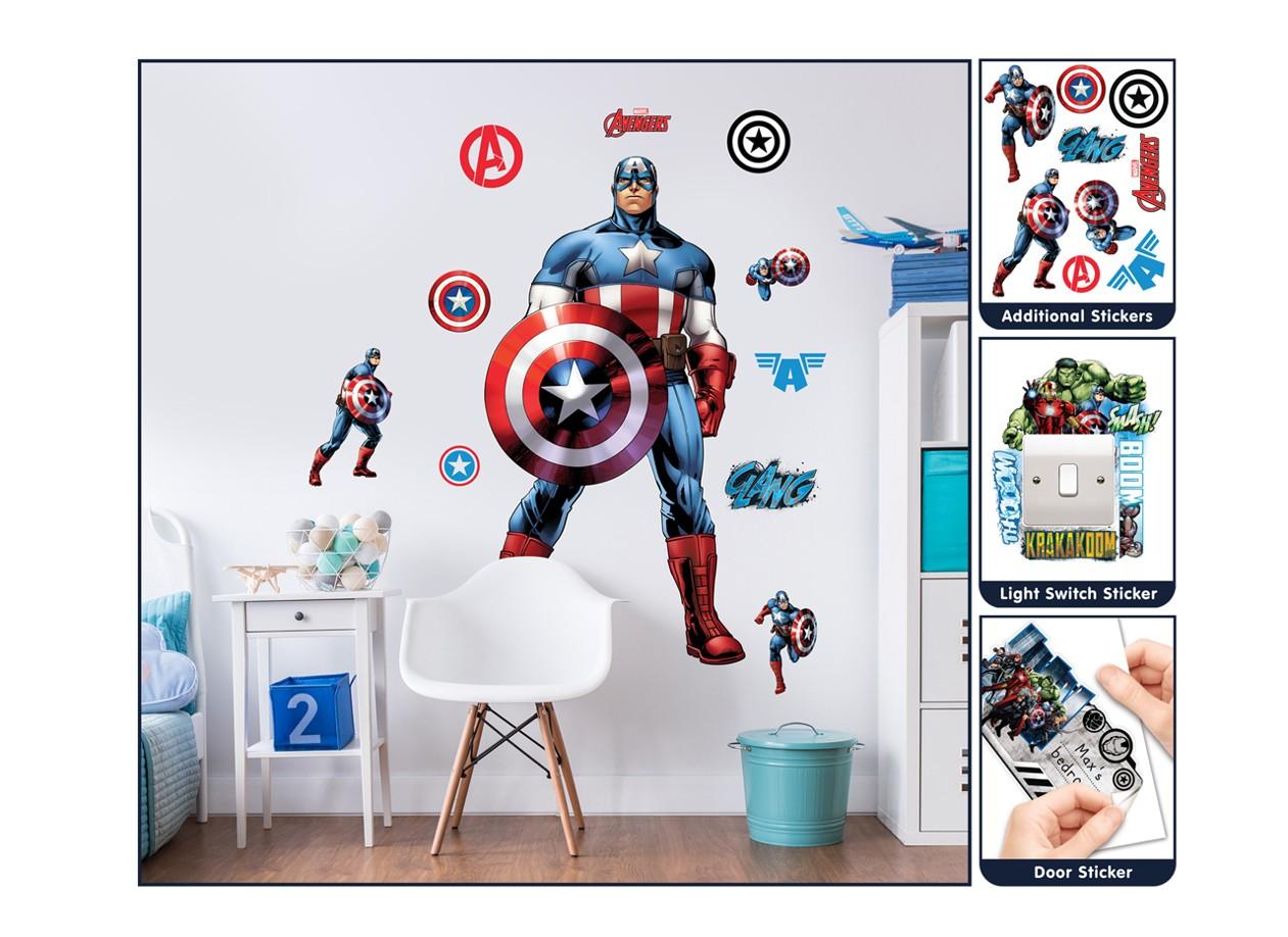 Samolepicí dekorace Walltastic Captain America 44272 (Sada samolepek do dětského pokoje)