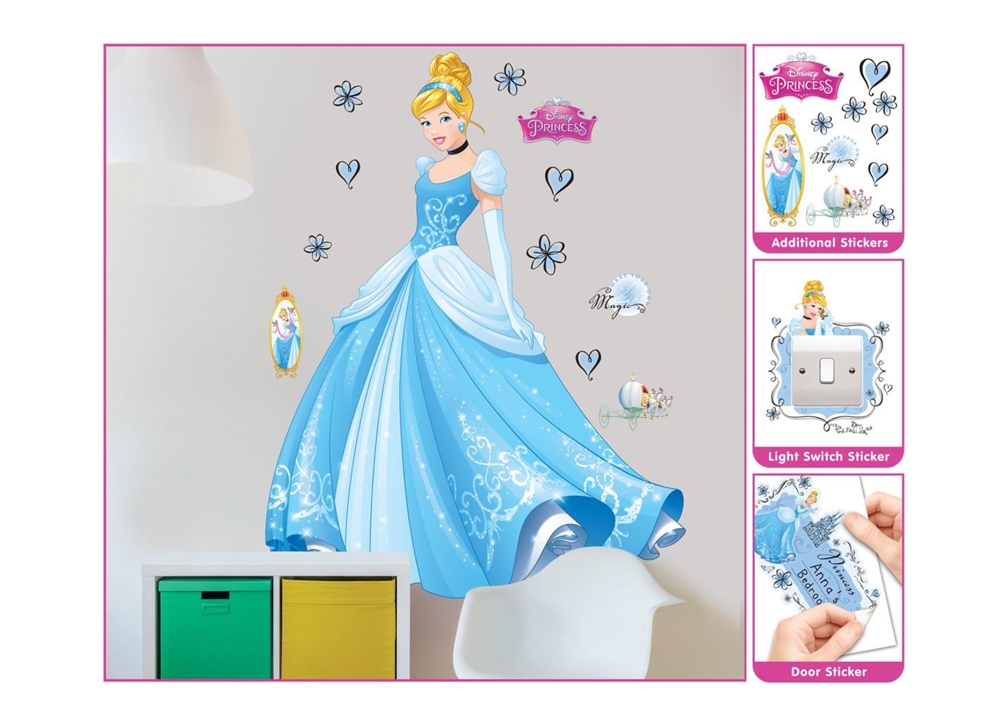 Samolepicí dekorace Walltastic Cinderella 44340 (Sada samolepek do dětského pokoje)