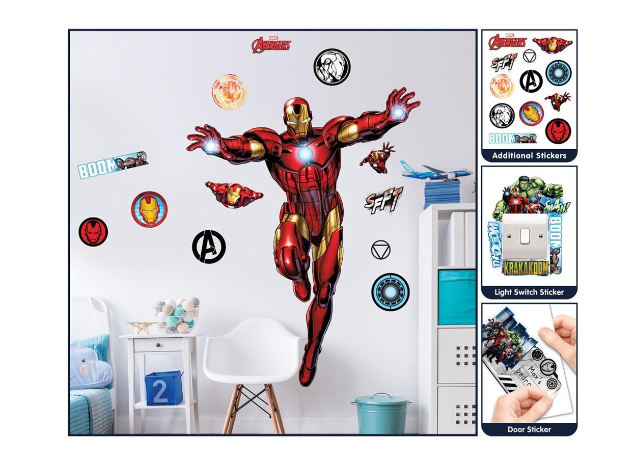 Samolepicí dekorace Walltastic Iron Man 44296 (Sada samolepek do dětského pokoje)