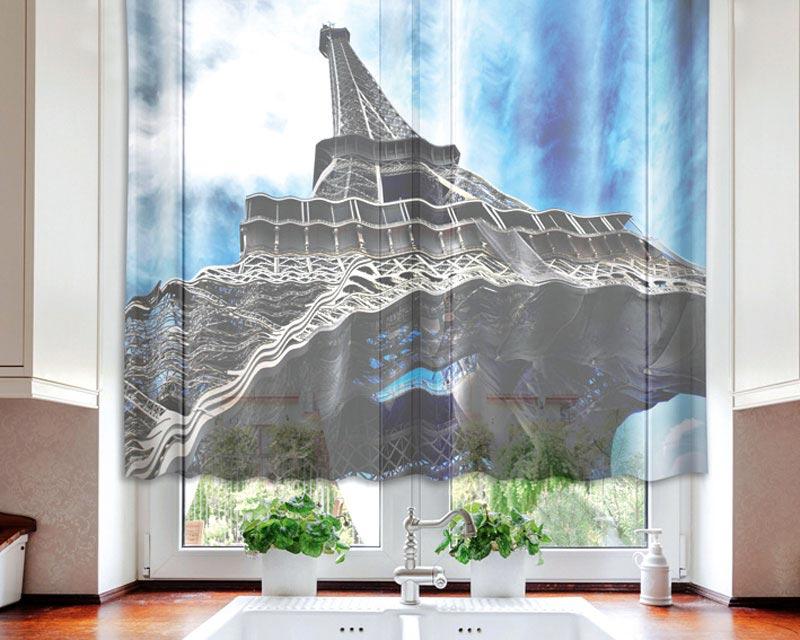 Fotozáclona Eiffel Tower VO-140-001 | 140 x 120 cm (Textilní záclona | POŠTOVNÉ ZDARMA)