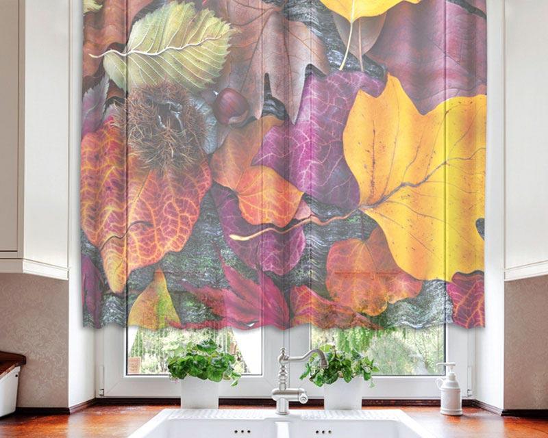 Fotozáclona Leaves VO-140-008 | 140 x 120 cm (Textilní záclona | POŠTOVNÉ ZDARMA)