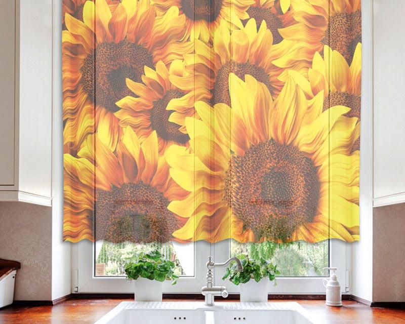 Fotozáclona Helianthus VO-140-009 | 140 x 120 cm (Textilní záclona | POŠTOVNÉ ZDARMA)