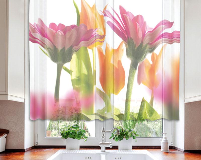 Fotozáclona Spring Flowers VO-140-010 | 140 x 120 cm (Textilní záclona | POŠTOVNÉ ZDARMA)