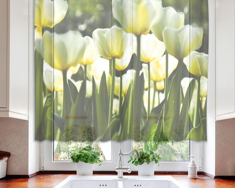 Fotozáclona White Tulips VO-140-012 | 140 x 120 cm (Textilní záclona | POŠTOVNÉ ZDARMA)