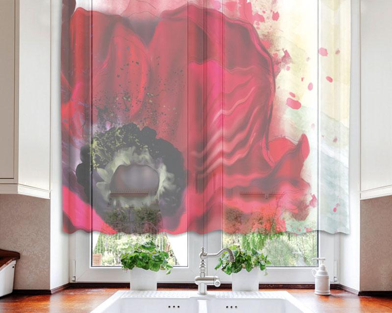 Fotozáclona Poppy VO-140-014 | 140 x 120 cm (Textilní záclona | POŠTOVNÉ ZDARMA)