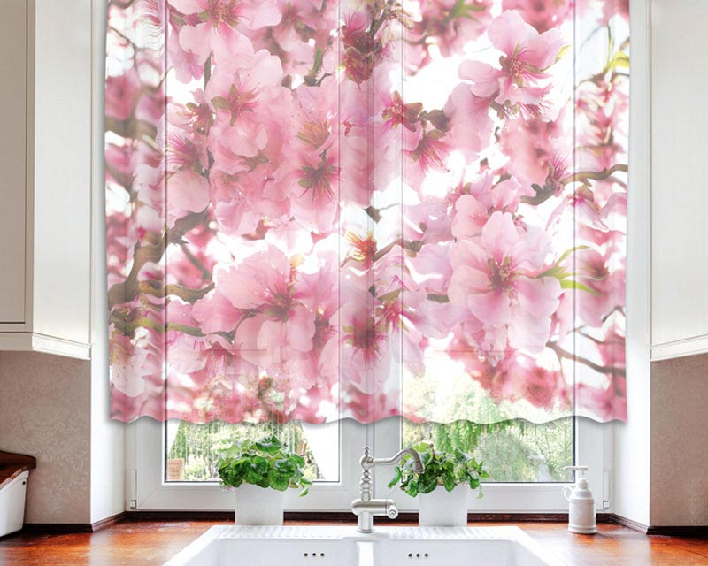 Fotozáclona Apple Blossom VO-140-015 | 140 x 120 cm (Textilní záclona | POŠTOVNÉ ZDARMA)