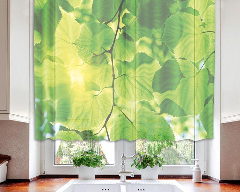 Fotozáclona Green Leaves VO-140-016 | 140 x 120 cm (Textilní záclona | POŠTOVNÉ ZDARMA)