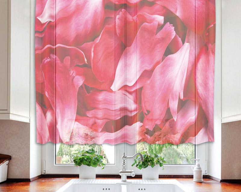 Fotozáclona Red Petals VO-140-018 | 140 x 120 cm (Textilní záclona | POŠTOVNÉ ZDARMA)