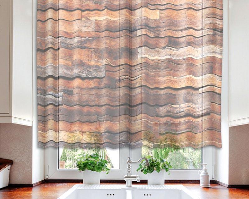 Fotozáclona Wooden Wall VO-140-021 | 140 x 120 cm (Textilní záclona | POŠTOVNÉ ZDARMA)