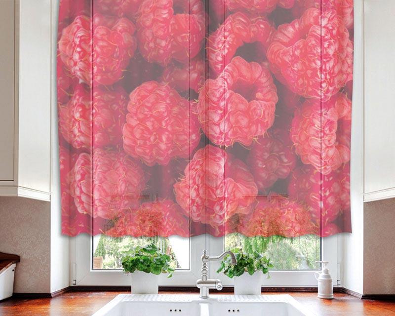 Fotozáclona Raspberry VO-140-022 | 140 x 120 cm (Textilní záclona | POŠTOVNÉ ZDARMA)
