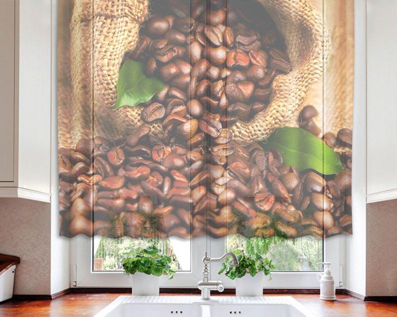 Fotozáclona Coffee VO-140-025 | 140 x 120 cm (Textilní záclona | POŠTOVNÉ ZDARMA)