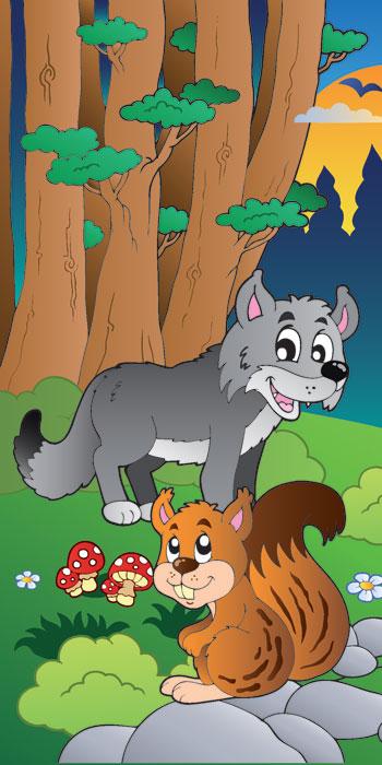 Fototapeta pro děti Wolf in Forest (1-dílná vliesová fototapeta)