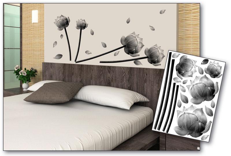 Dimex dekorace na zeď Gray Flowers ST1 027