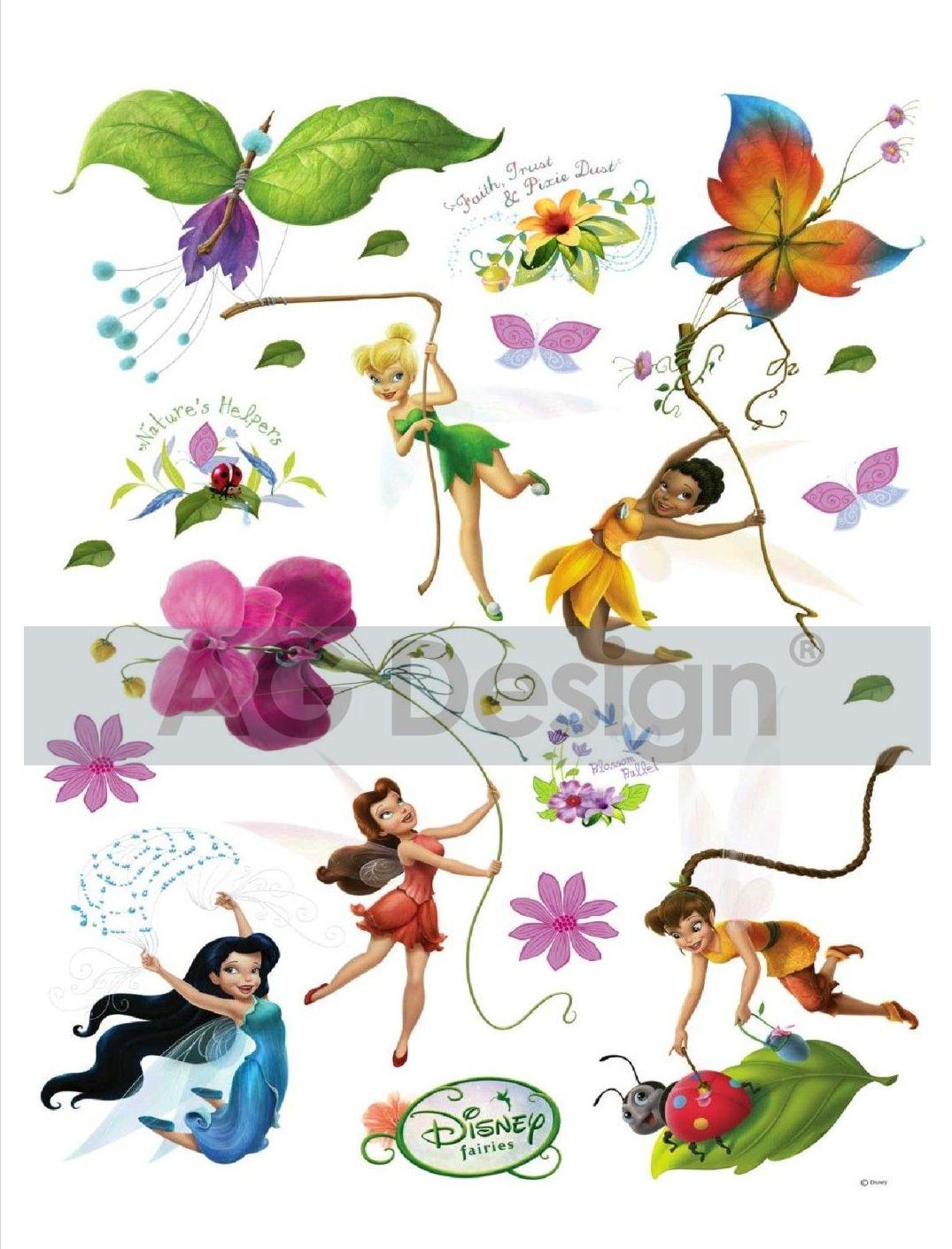 Maxi nálepka na zeď Fairies a motýlci DK883 (Dekorativní samolepka)