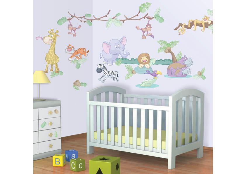 Samolepky Walltastic Baby Džungle 34 x 46 cm 41080 (Dětské samolepicí dekorace)
