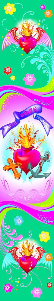 Dekorace W+G Faith,Love,Hope 47 x 268 cm 74510 (Samolepicí dekorace)