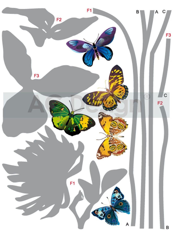 Samolepicí dekorace Motýli F0405 (Dekorativní nálepka 65 x 85 cm)