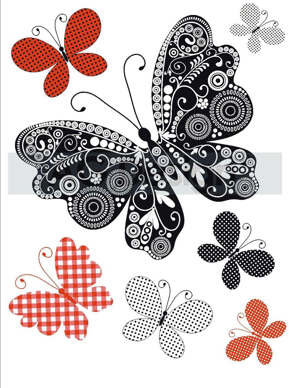 Samolepicí dekorace Motýlí mix (Dekorativní nálepka 65 x 85 cm)