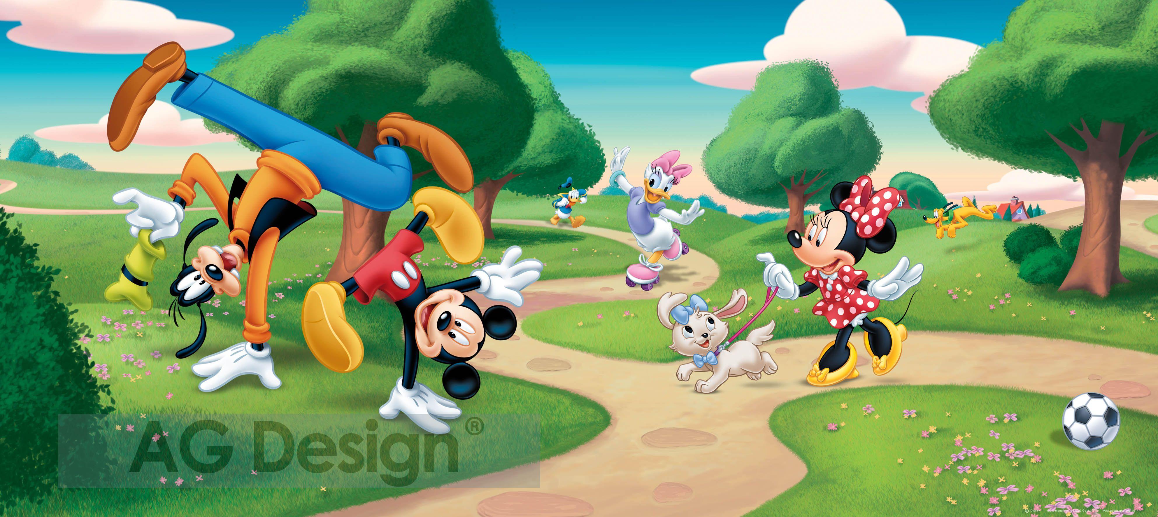 Dětská fototapeta Mickey v parku FTDH0623 (1-dílná papírová tapeta)