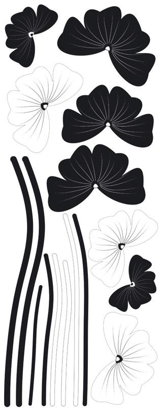 Samolepicí dekorace Black Flowers ST2 024